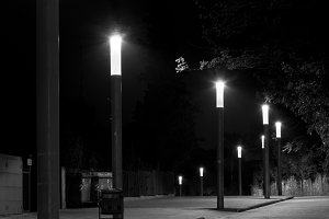 Row of streetlights in a street