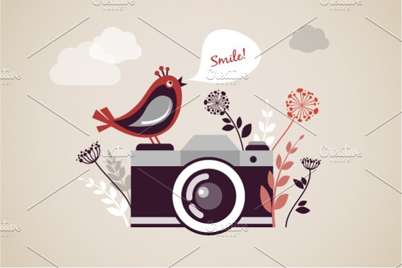 Camera Vintage Vector Free : Vintage camera vector illustration ~ illustrations ~ creative market