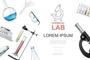 Realistic chemical laboratory set