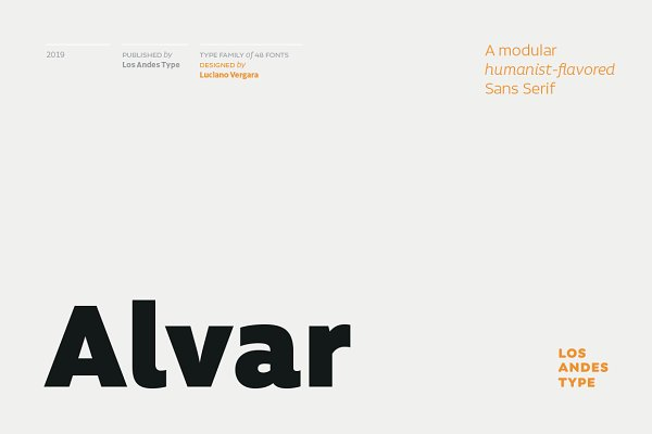 Sans Serif Fonts: Los Andes Type - Alvar - Intro Offer 80% off