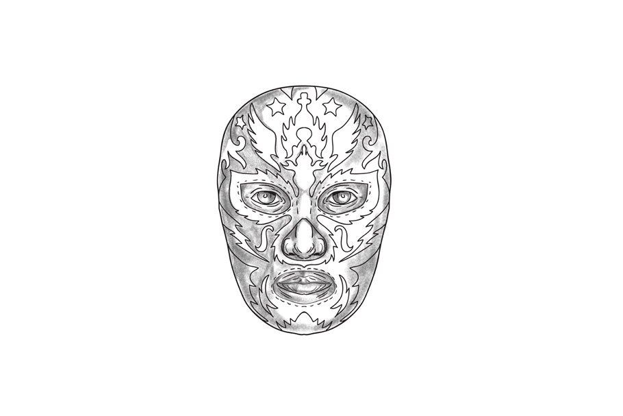 0af4e6d0c1fe0 Lucha Libre Mask Tattoo ~ Illustrations ~ Creative Market