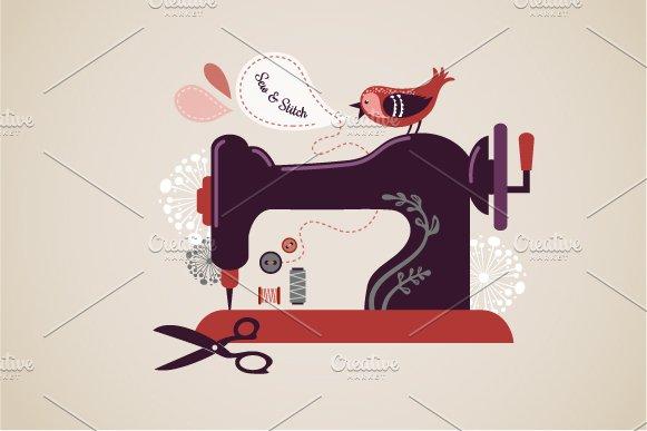 Vintage sewing machine illustration ~ Illustrations