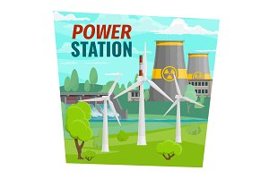 Power plant and windmills, dam