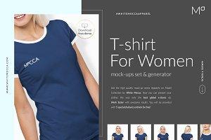 Women T-Shirt Mockups Set FREE DEMO