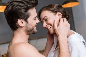 adult tender man touching girl in sh