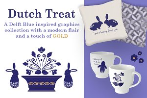 Floral & Rabbit Graphics Collection