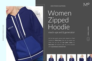 Women Zipped Hoodie Mockups Set DEMO