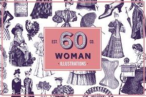 Woman Vintage Vector Illustration