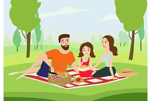 Happy family on a picnic vector