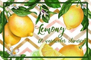 Lemony set 17 watercolor handpainted
