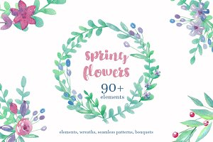 Watercolor spring flower bundle