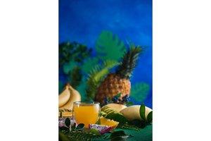 Tropical fruits fresh juice on a