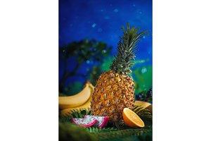 Pineapple, bananas, mango, dragon