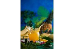 Fresh juice dynamic splash. Tropical