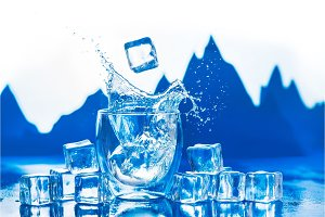 Crystal clear water splash in a