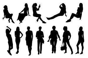 Silhouettes of girls and women
