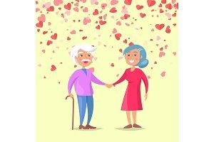 Smiling Elderly Man Holding Woman