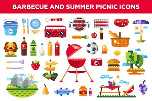 Barbeque & Summer Picnic Icons Set