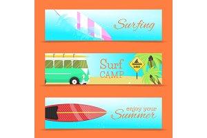 Summer set of banners vector