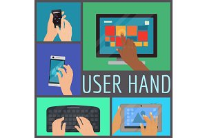 User hand seamless pattern vector