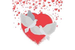 Doves in Love Pigeons Birds Hearts