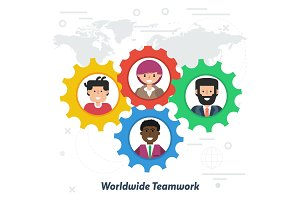 Worldwide teamwork concept in flat
