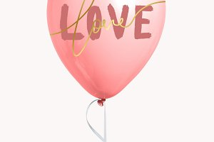 Pink valentines day love balloon