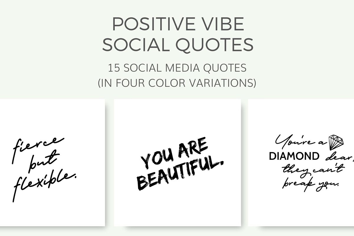Positive Vibe Quotes 15 Images Instagram Templates Creative Market