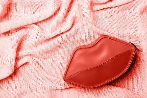 Retro wave. Lip-shaped cosmetics in
