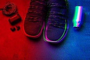 Retro wave neon. Sneakers, air