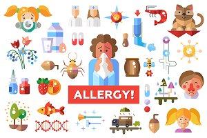 Stop Allergy! Flat Design Icons Set