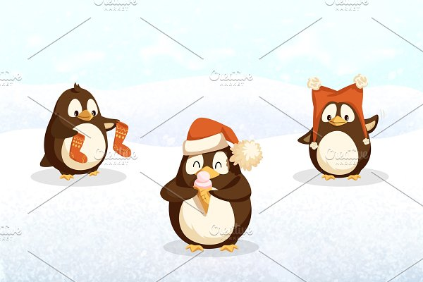 Penguins Hipster Animals with Santa