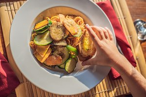 Pasta with fried vegetables and