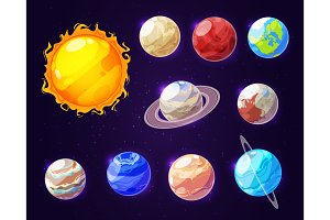 Solar system sun and planets, vector