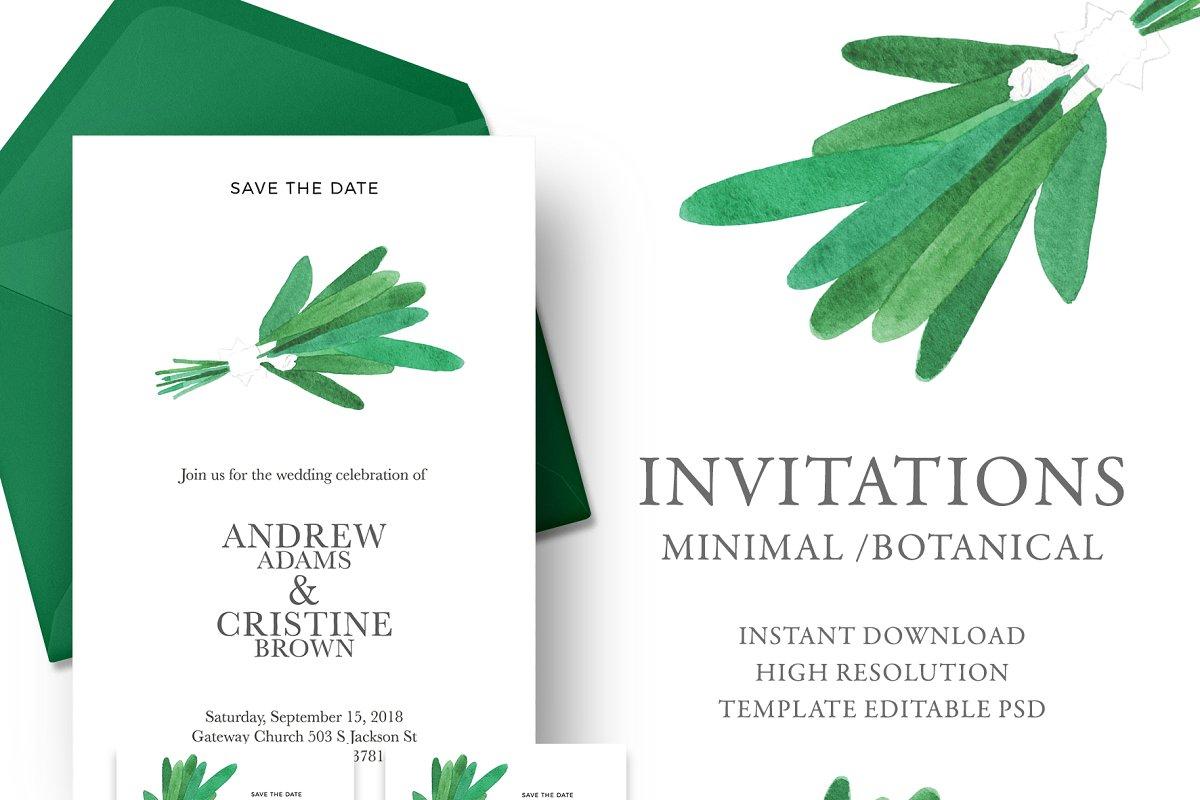 Wedding invitation green bouquet