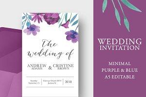 Purple floral wedding invitation A5