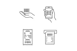 Barcodes linear icons set