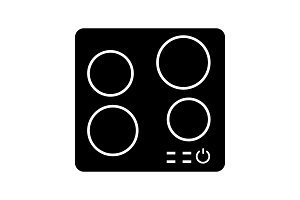Electric induction hob glyph icon