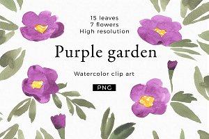 Purple garden watercolor clipart