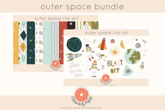 Outer Space Clipart And Paper Bundle