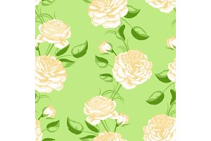 Seamless pattern with yellow roses