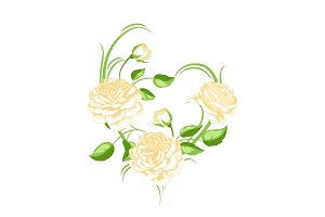 Decorative element with yellow roses