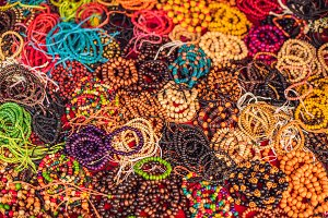Handmade colorful bracelets in a