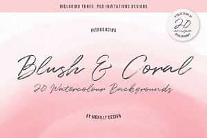 Blush & Coral Watercolour Background