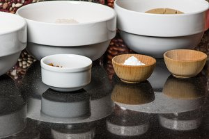 Bowls of spices in kitchen