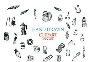 Cooking clipart vector doodles