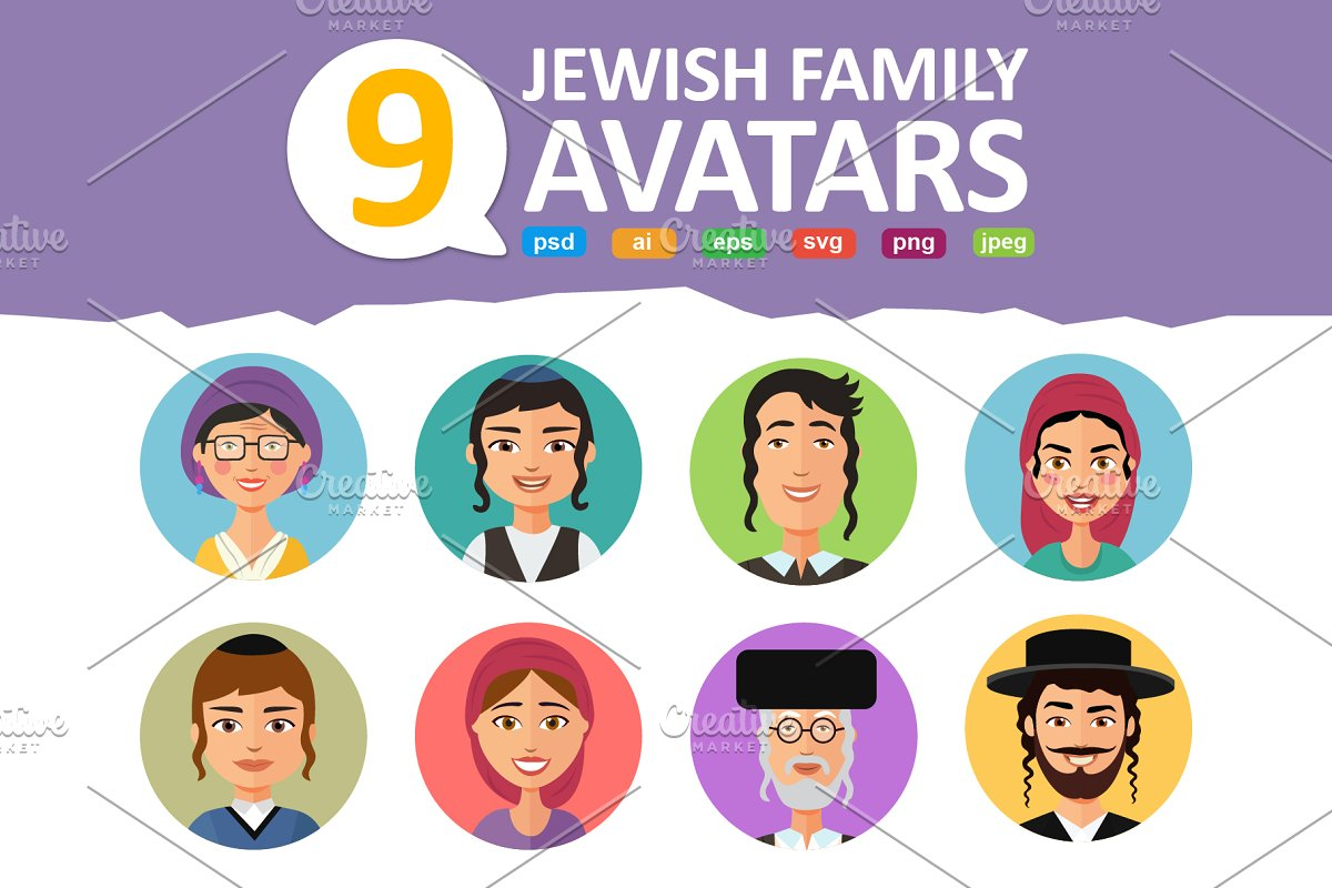 Jewish avatars family cartoon flat