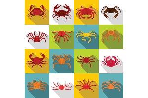 Various crab icons set, flat style
