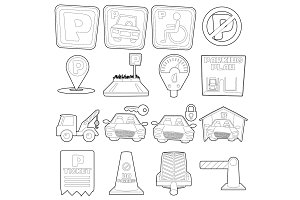 Parking icons set, cartoon outline