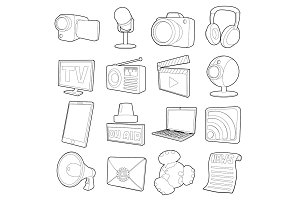 Media channels icons set, cartoon